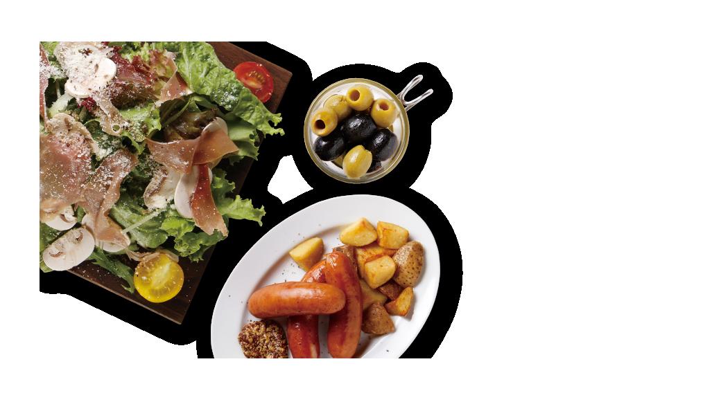 パスタ、アヒージョ、サルシッチャ、酪恵舎のチーズなどサイドメニューも充実。アルコール、ノンアルコールカクテルも豊富に取り揃えています。